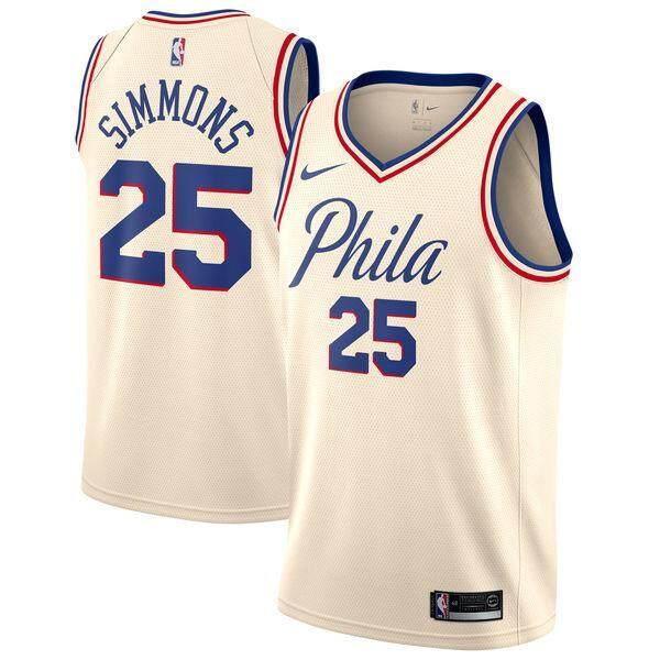 01bc71a3 Original Philadelphia 76ers Ben Simmons #25 Cream Swingman - City Edition  NBA NKE Basketball Jersey