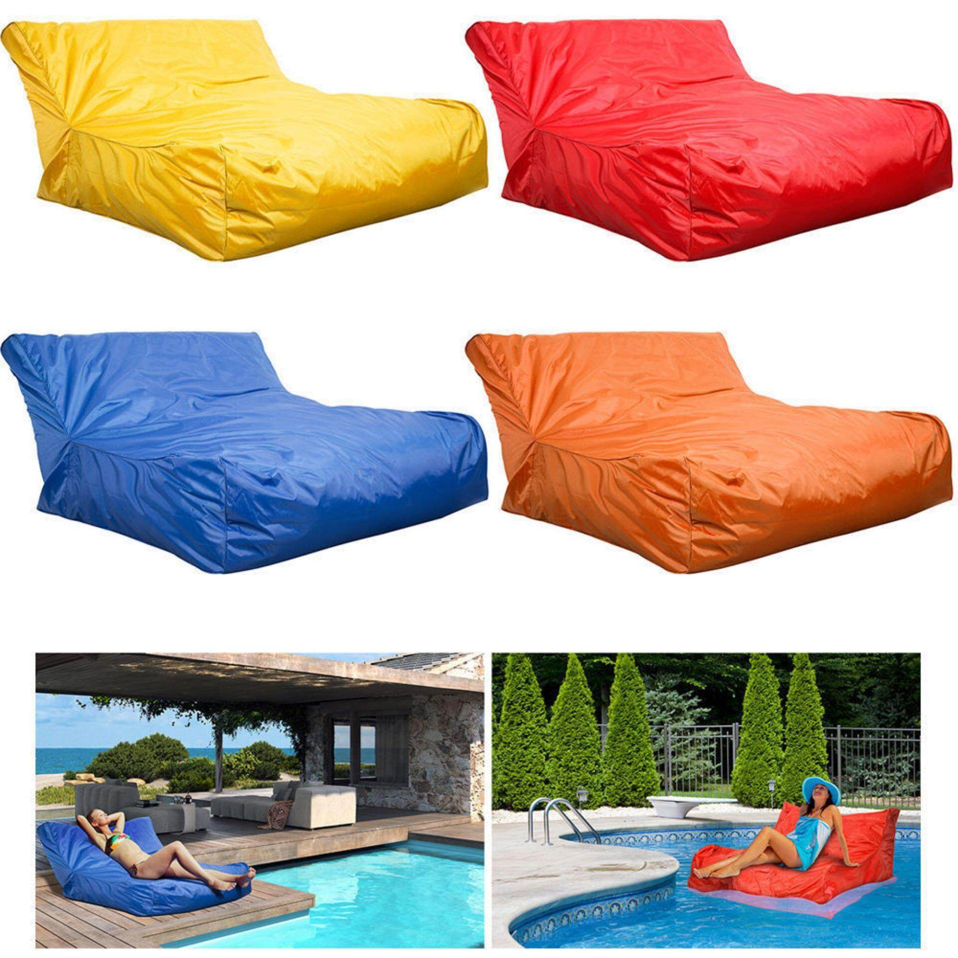 minxin Swimming Pool Floating Bean Bag Cover Waterproof Reading Relaxing Soft Lounge Chair Sofa Yellow