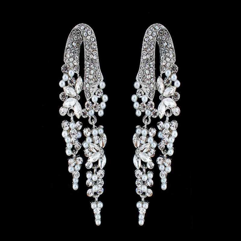 ... FF8866YY Mewah Penuh Berlian Imitasi Perak Imitasi Mutiara Panjang Anting Bulat Hadiah Pernikahan Stud Anting