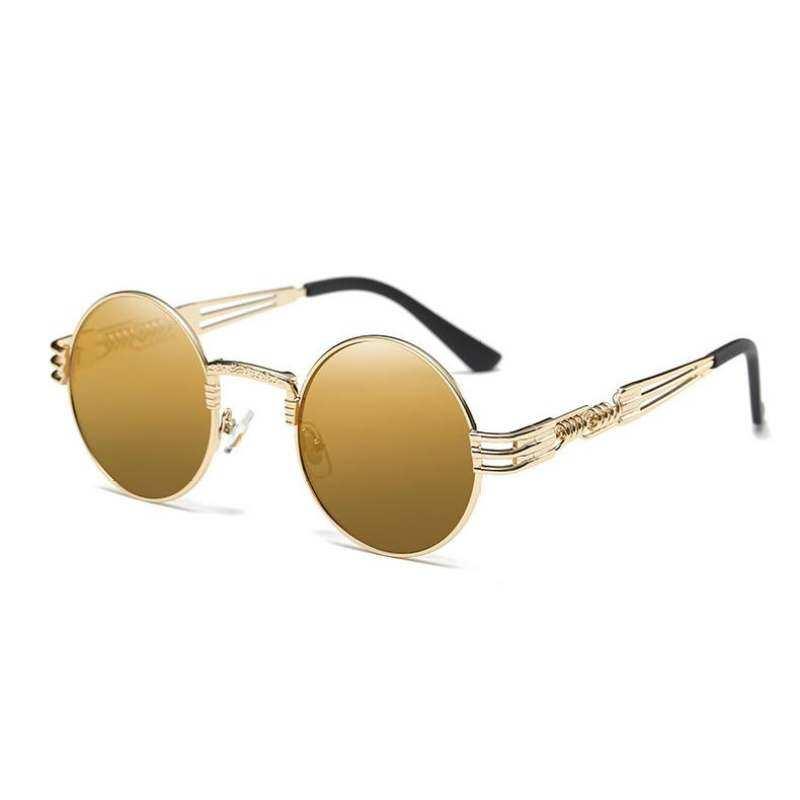 ea9bf17fa20d Round Steampunk Classic Brand Designer Mirror Sunglasses Fashion Clear Lens  Optics chain Sun Glasses Frame Transparent