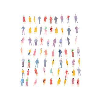 100Pcs Mini HO Scale 1:100 Painted Model People Mix Painted Model Figures