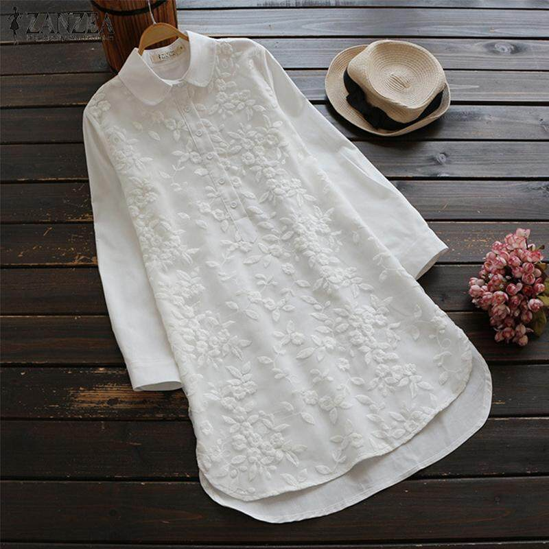 ZANZEA Women Long Sleeve Crochet Casual Shirt Tops Asymmetrical Buttons Down Blouse Plus Size