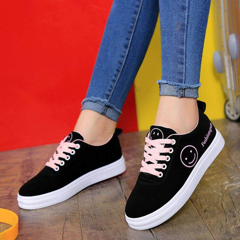 Amart Korean Fashion Women Canvas Shoes Smile Face Print Shoes Casual Lace Up Flat Shoes