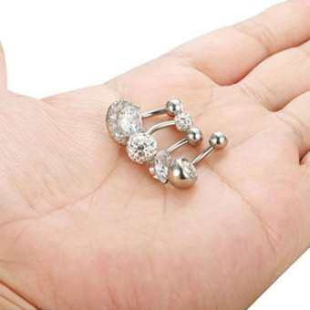 4X Silver/GOLD/Rose Belly Bar จิวสะดืออัญมณีใส่สะดือ Belly แหวน-