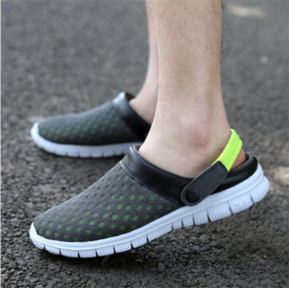 brand new 013c2 c0415 Mesh Half Slippers Couple Models Casual Shoes Men New Hole Shoes Nest Large  Size Beach Sandals