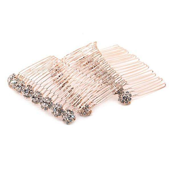 MAISHO 3 Pcs Alloy Diamond Crystal Comb Hair Accessories, Gold