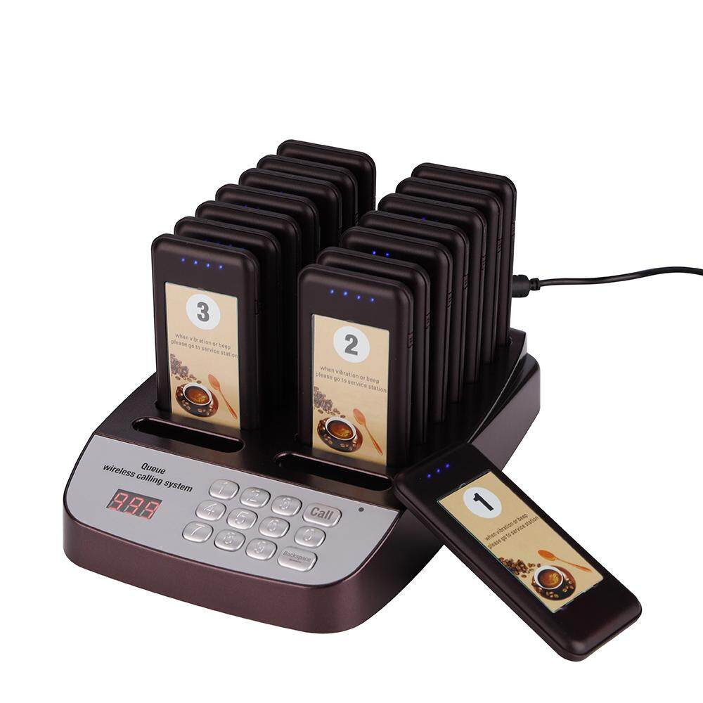 DAYTECH Wireless Paging System Calling System Restaurant Coater Pager 1 PC  Keyboard Host With 16 PCS Pager Receivers