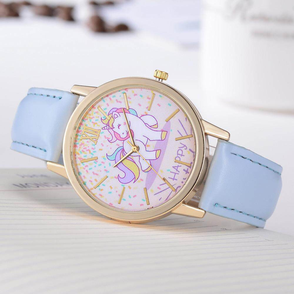 Women's Fashion Cute Cartoon Horse Leather Strap Kids Girls Leather Band  Watch
