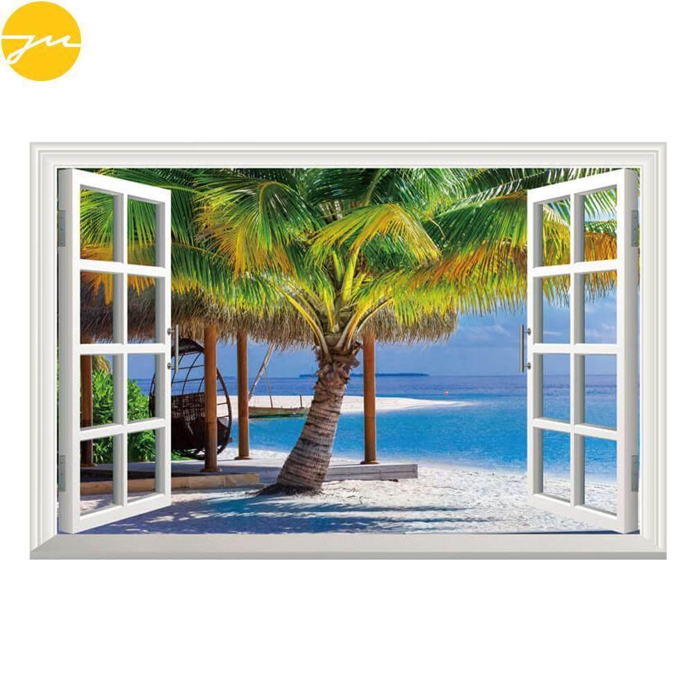 JMS 3D Wall Stickers Window Wallpaper Stereoscopic PVC Sea Coconut Trees