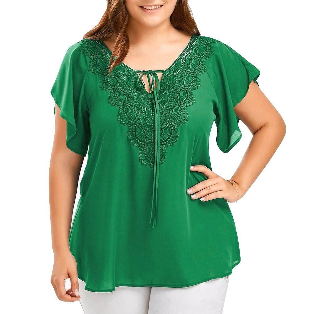 Womens Fashion Curve Appeal Lace T-Shirt Blouse Bat Short Sleeve Tops