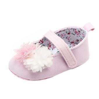 เด็กแรกเกิดน่ารักหญิงดอกไม้ผ้าใบเดี่ยว First Walker Soft Sole รองเท้า-