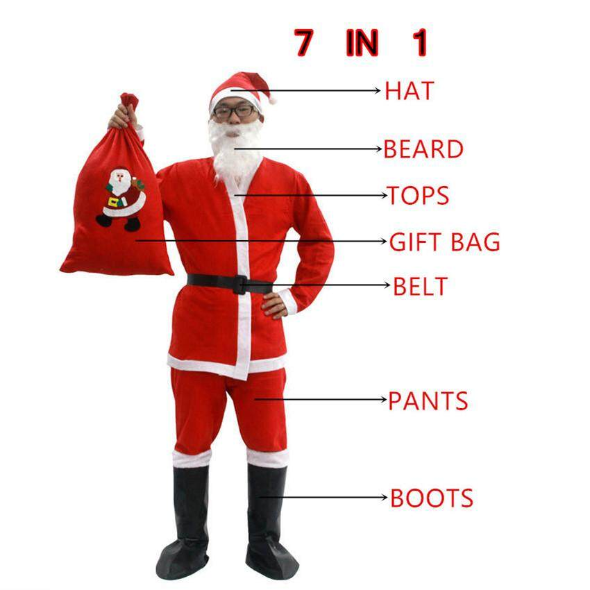 Adult Santa Claus Costume Suit Non-woven Father Christmas Clothes Xmas Cosplay 7 IN 1 Hat, Bear, Tops, Belt, Pants, Gift Bag,Boots