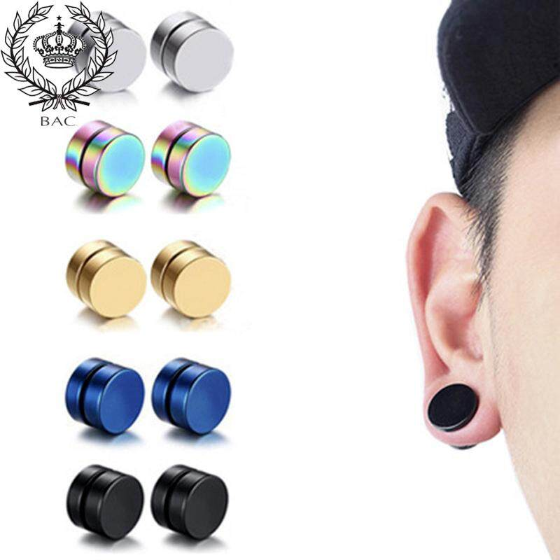 db8b6ee297dab BAC 2pcs Titanium Steel Mens Women Round Magnetic Clip on Stud Earrings 8mm