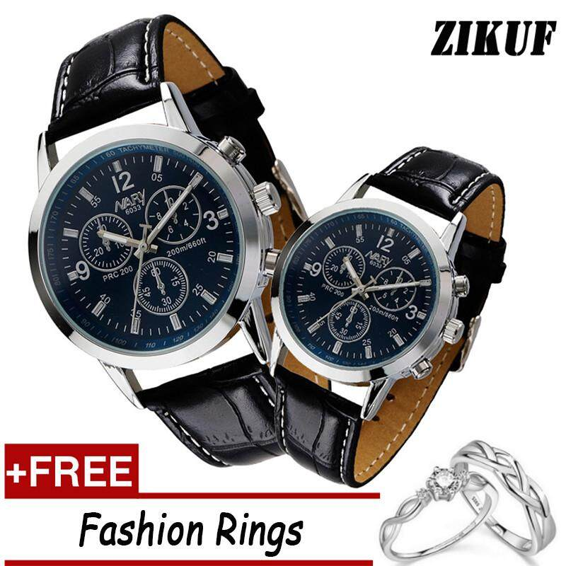 Nary Fashion Leather Belt Men's and Women's Watches Couple Watches With Free Couple Rings