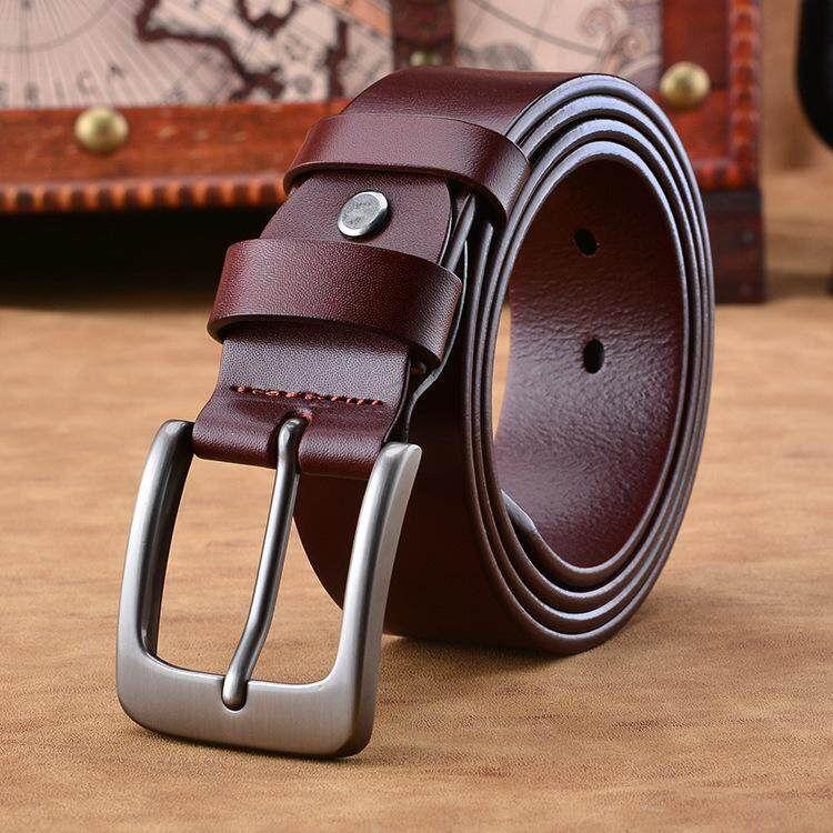 High-end Leather Men's Leather First Layer Leather Belt Retro Craft Pin Buckle Belt
