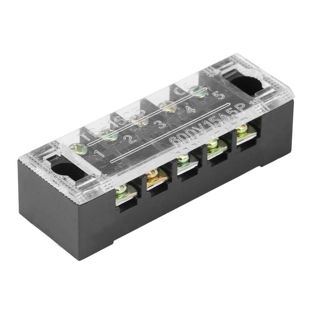 3 Position Screw Barrier Strip Terminal Block with Cover 15A QTY 2