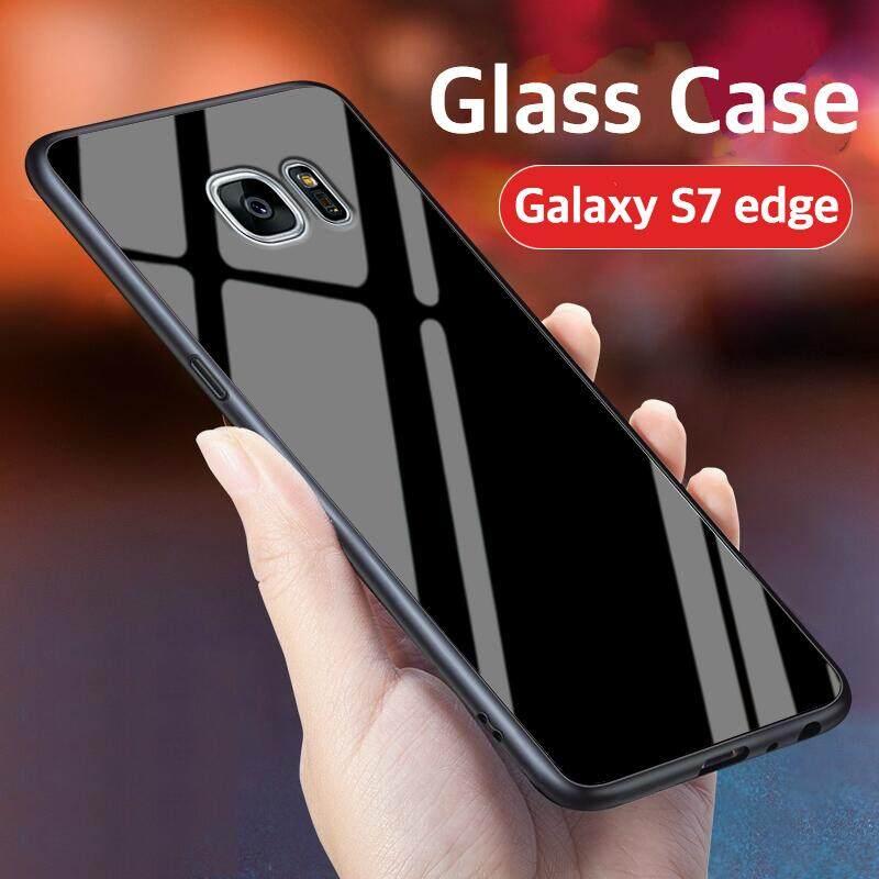 Kaca Case untuk Galaxy S7 Tepi Penutup Perlindungan Penuh Kaca Antigores Kembali Casing Kover untuk Samsung