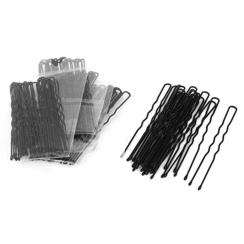 Metal Woman Hair Pin U Shaped Clip Single Prong 100 Pcs Black