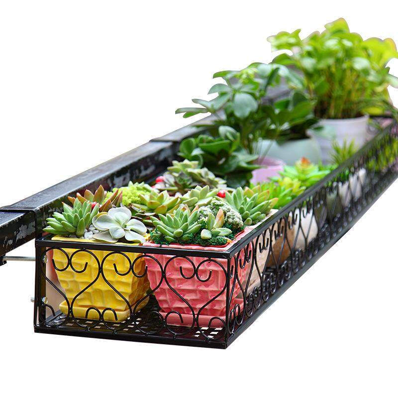 60*20*12cm Iron flower rail hanging flower rack, creative home balcony, vegetable pot, metal meat rack, multi floor outdoor hanging basket.(please inform the seller of the width and thickness of your balcony on chat, so as to configure the hook for you)
