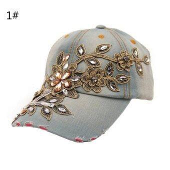 Trendy Women Men Rhinestone Crystal Denim Hat Bling Baseball Caps Adjustable Color1