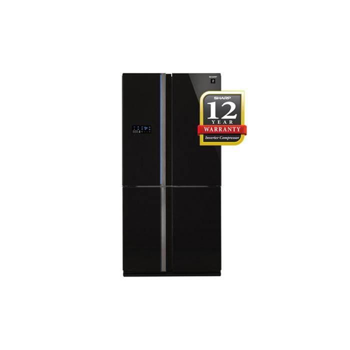 SHARP SJF104VGBK FRIDGE 4 DOORS G740L PCI J-TECH INVERTER AUTO ICE MAKER GLASS BLACK