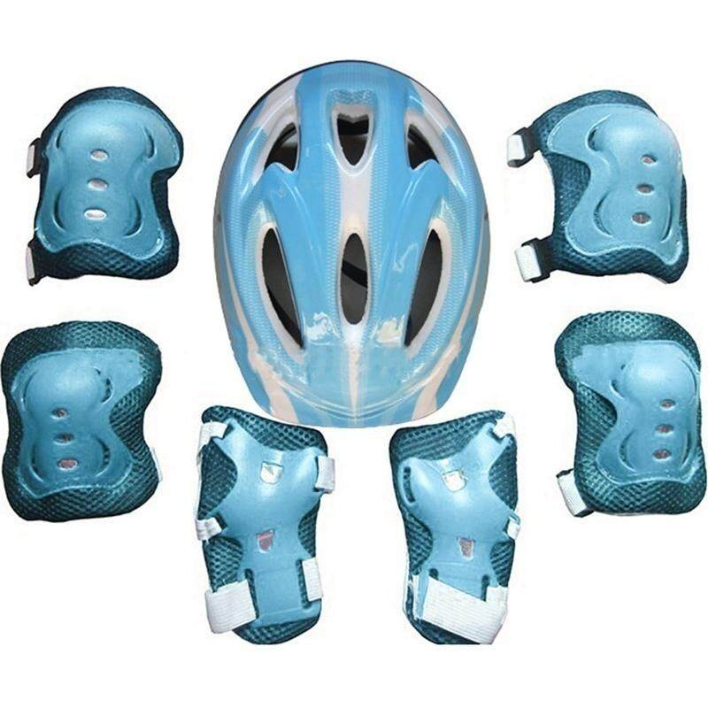 Fancyqube 7Pcs/Set Kid Child Outdoor Sports Essential Skate Balance Car Skateboard Cycling Bike Thickened Protectors Roller Knee Elbow Wrist Safety Helmet Pad Set Grateful