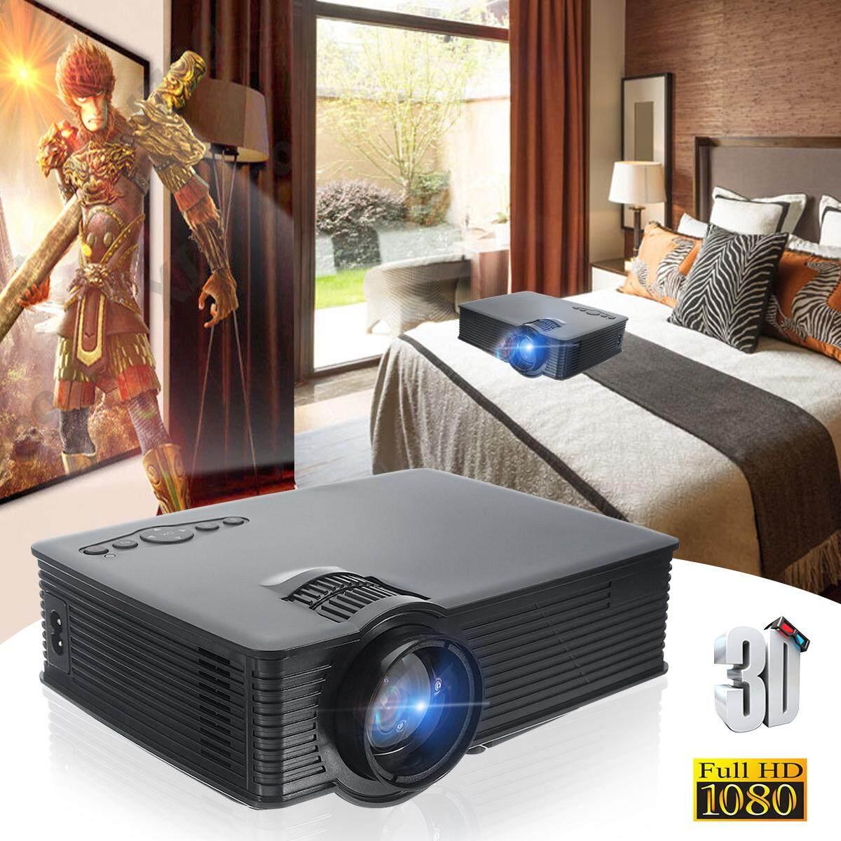 1080 P Full HD Thông Minh 3D Máy Chiếu 7500LM LED USB Gia đình HDMI VGA Đen Phích Cắm UK