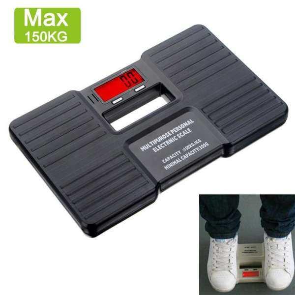 """店名 Portable 150kg Weight Scale 2.1"""" LCD Screen Balance Body Health Fitness Electronic Weight Scale - Black"""