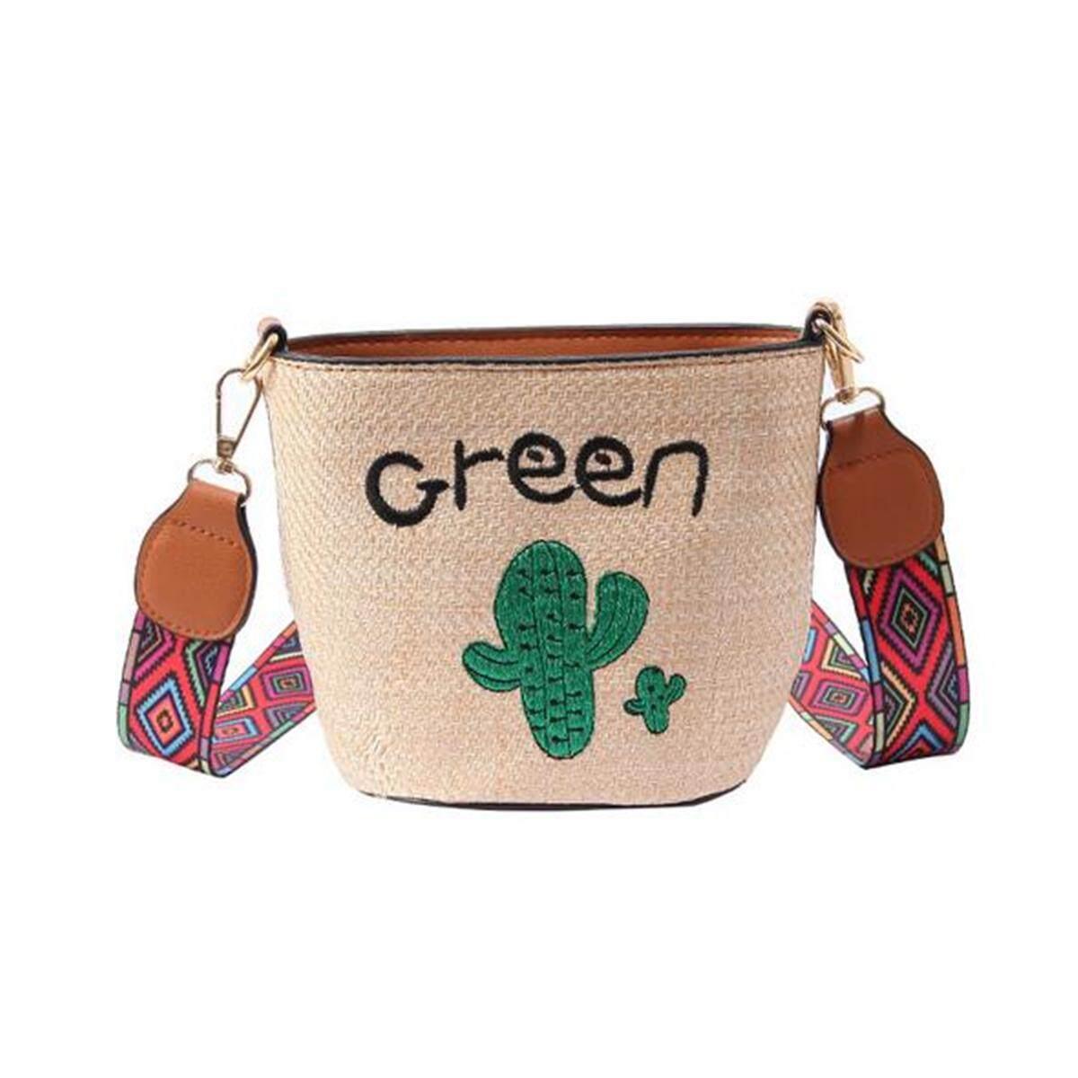 Letter embroidery cactus ladybug wide shoulder strap shoulder messenger bag woven straw bag handbag beach bag