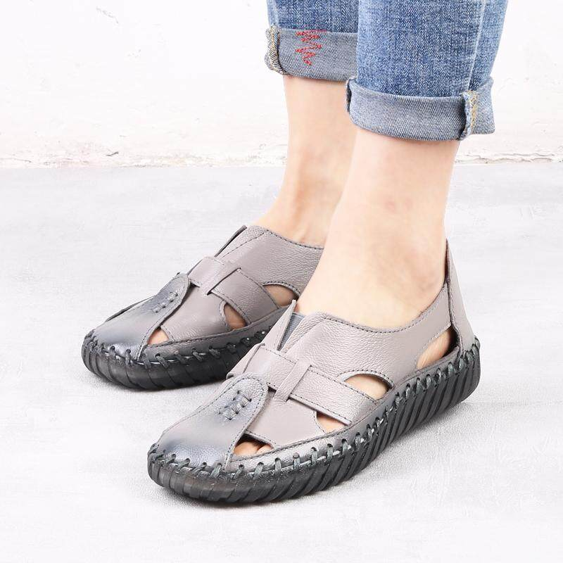 Fashion Women Big Size Female Leather Fisherman Hollow Out Flats