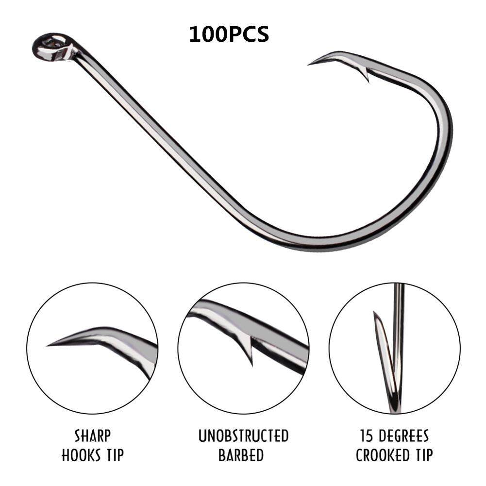 Top 10PC//Box Black Color Fishing Hook 1//0#2//0#3//0# High Carbon Steel Treble Hook