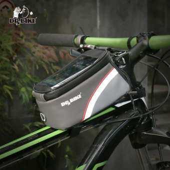 DRBIKE วัสดุ PU กระเป๋าจักรยานกันน้ำโครงรถจักรยานด้านหน้าโครงเหล็กด้านบนกระเป๋าจอสัมผัสสำหรับป้องกันฝุ่นละอองจาก Moilbe โทรศัพท์ MTB Mountain จักรยานเสือหมอบกระเป๋า-
