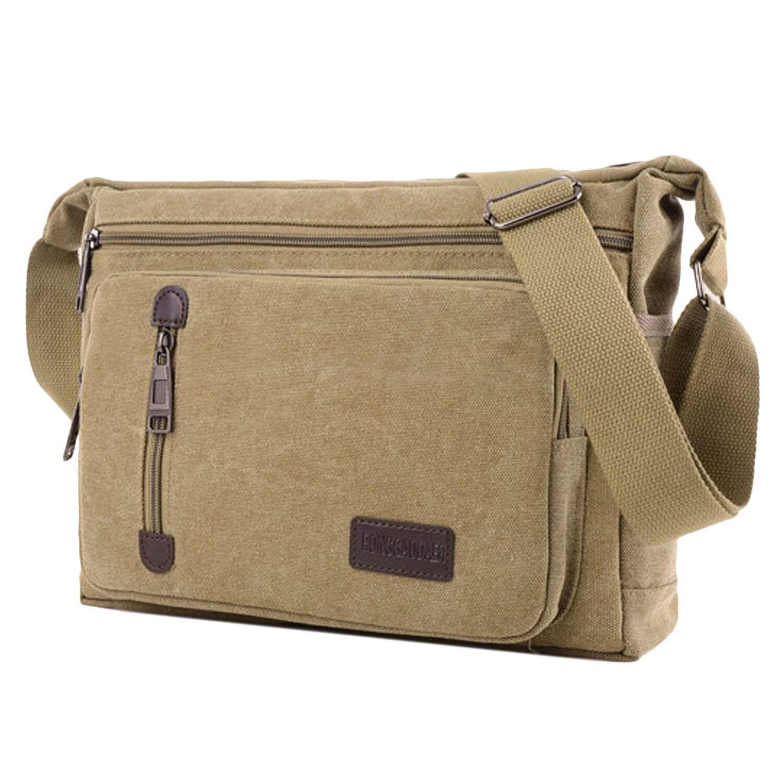 Retro Canvas Messenger Shoulder Crossbody Bag Briefcase for Men Boys School Business Travel Outdoor Activity