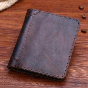 Men Genuine Leather Short Wallet Color Brown Size:11.5*10*1.5cm