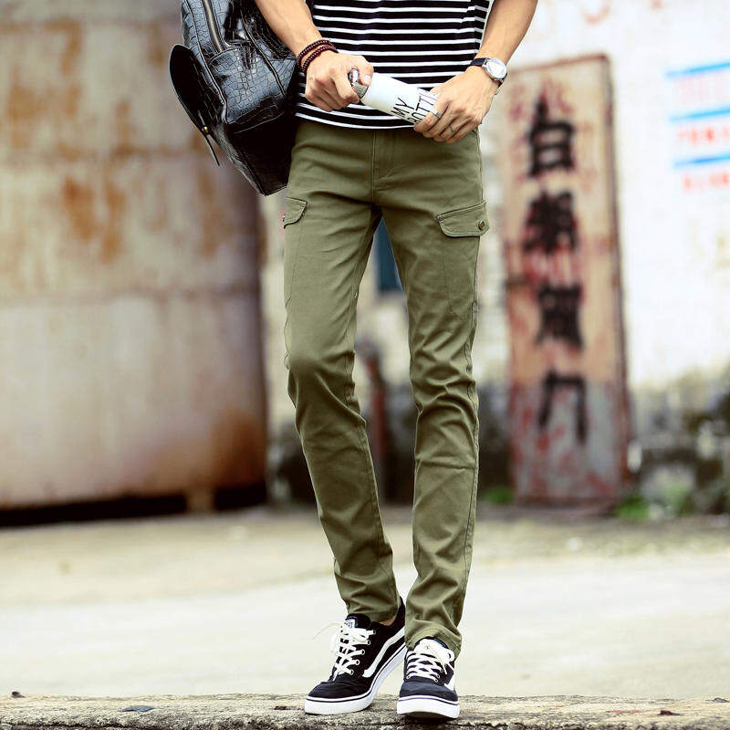KKTSF54R Men Summer Casual Slim Pants Chinos Light Green
