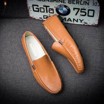 Inlike Big size Fashion French Men Casual Doug Shoes Luxury Genuine Leather Male Dress Loafers Zapatos Hombre Flat Leisure Boat Sapato Masculino JW380 (Yellow)