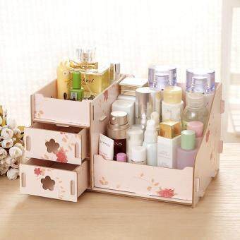Wooden DIY Jewelry Cosmetics Box Organizer, Size: 21 x 14 x 11cm - Beautiful Flowers Pattern / Beige