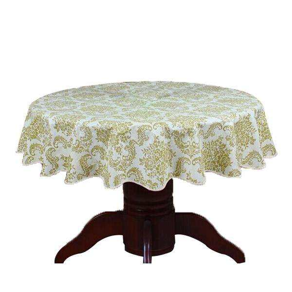 Deqi Pastoral Round Table Cloth PVC Plastic Table Cover Flowers Printed tablecloth Waterproof Home Party Wedding