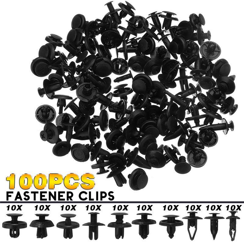 100PCS Car Bumper Fender Trunk Screw Rivets Set Auto Plastic Fastener Clips