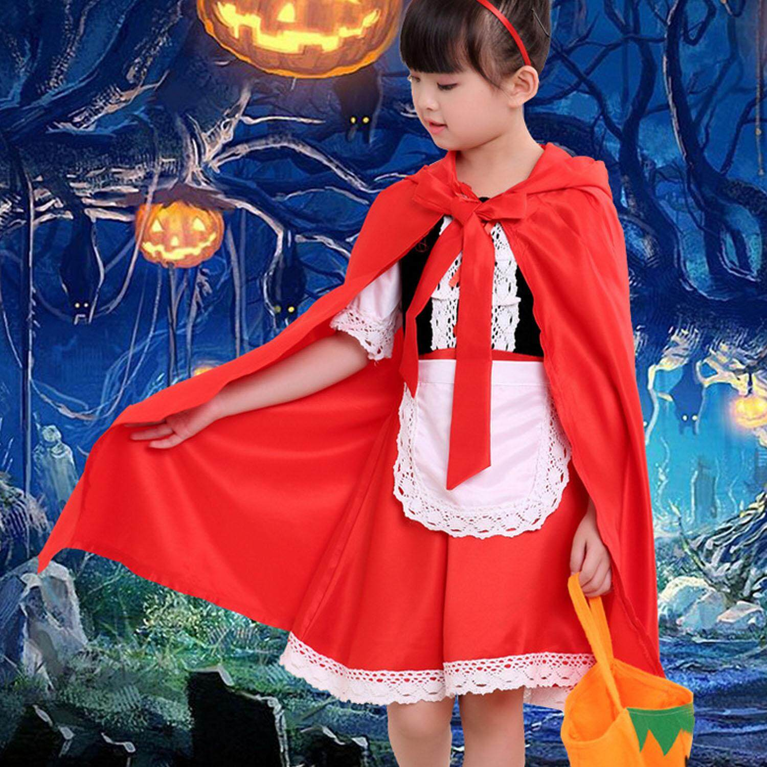 Fantasy Girls Little Red Riding Hood Costume + Pumpkin Bag + Headband for Halloween Night Festival Cosplay Costume Party 120cm Maxi Party Dress