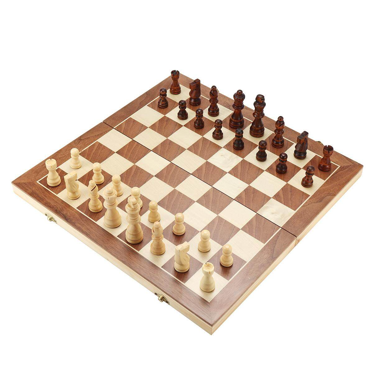Large Chess Wooden Set Folding Chessboard Magnetic Pieces Wood Board #40*40cm