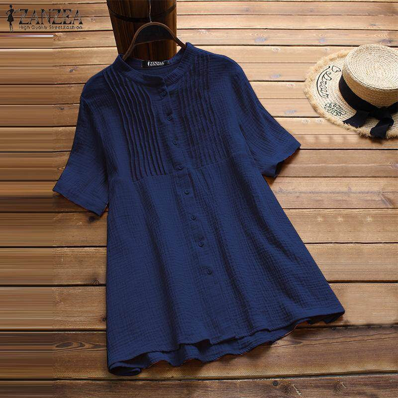 ZANZEA Women Short Sleeve Cotton T-Shirt Blouse Pleated Loose Buttons Down Shirt Tops เสื้อเบลาส์และเสื้อเชิ้ต