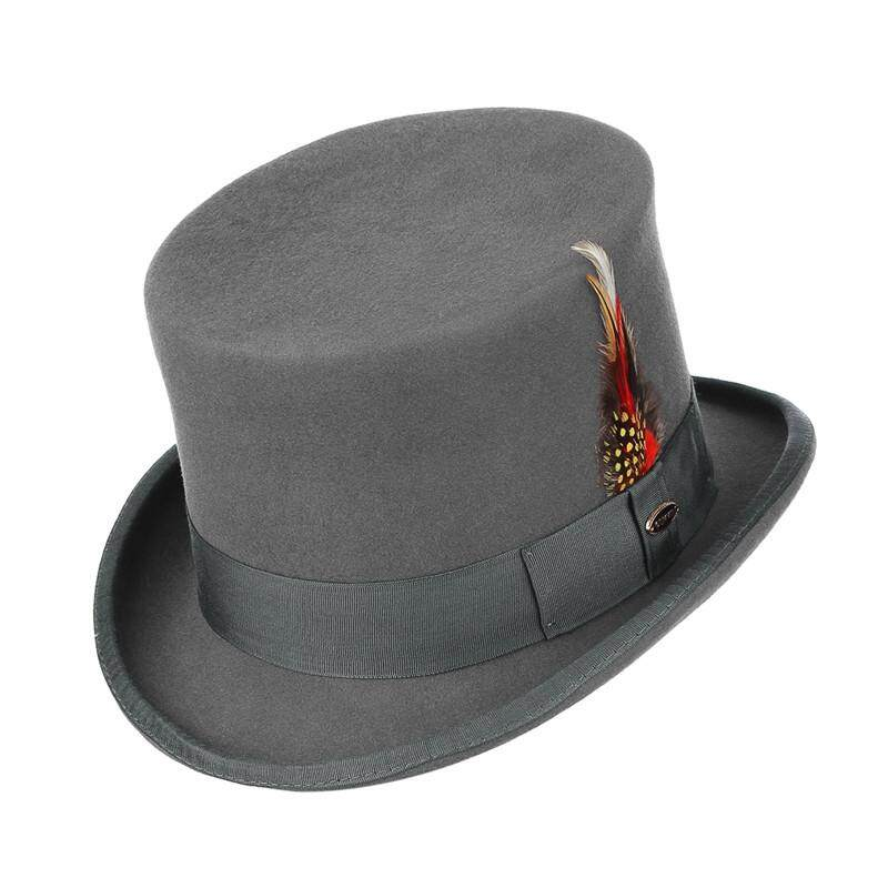 GEMVIE Retro Men Top Hat 100% Wool Fedoras Classical President Cap With Feather Formal Party Gentlemen Hat Punk Style Cosplay Magician Magic Hat
