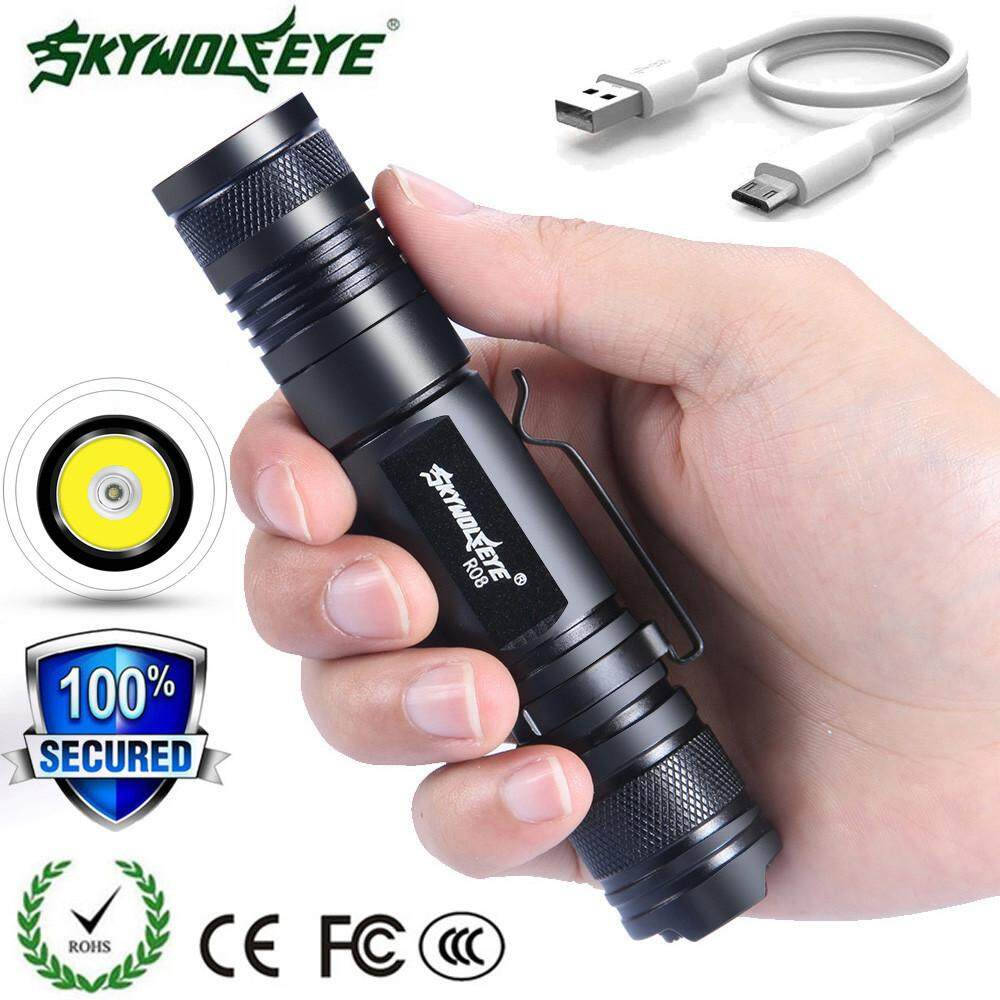 10x Portable T6 COB LED Tactical USB Rechargeable Zoomable Flashlight Torch Lamp