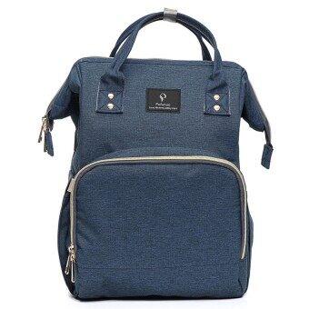 Pofunuo Waterproof Baby Diaper Nappy Mummy Bag Backpack Outdoor USB Interface Dark Blue