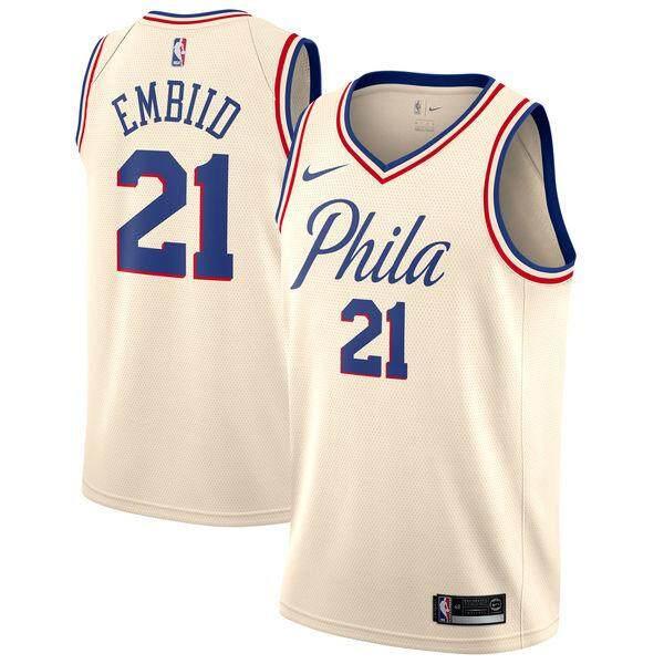 Philadelphia 76ers Joel Embiid #21 Kem Swingman-Thành Phố Phiên Bản Nam Thoáng Khí Kích Thước S-2XL Doanh Số Toàn Cầu Thoải Mái Chính Thức NBA Nke Bóng Rổ Jersey Giá Tiết Kiệm Nhất Thị Trường