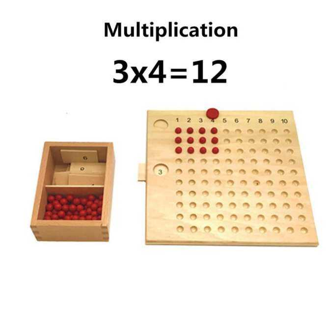 Hình ảnh Montessori Mathematics Maths Bead Board Educational Toy Multiplication&Division New Wooden Montessori Educational Material Knobbed