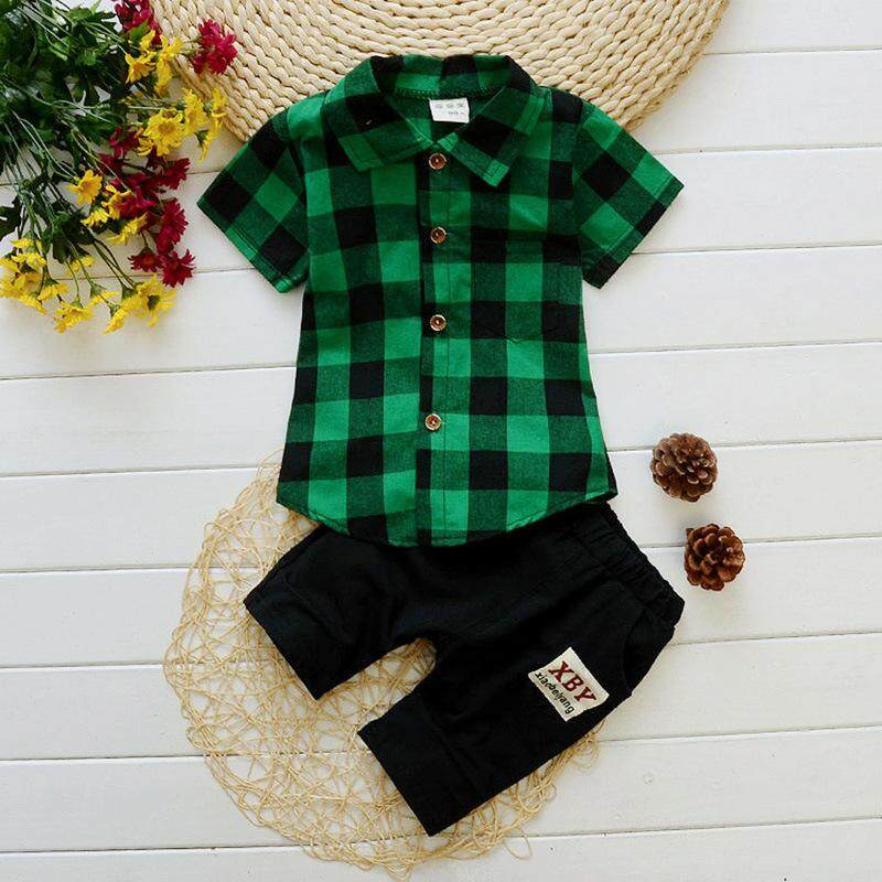 Tide pioneerSummer Plaid Shirt Baby Boy Clothes Sets Short Sleeve Sport Suit Children Clothing Boys Set Cotton Outfit Suit Costume For Kids Clothes - intl