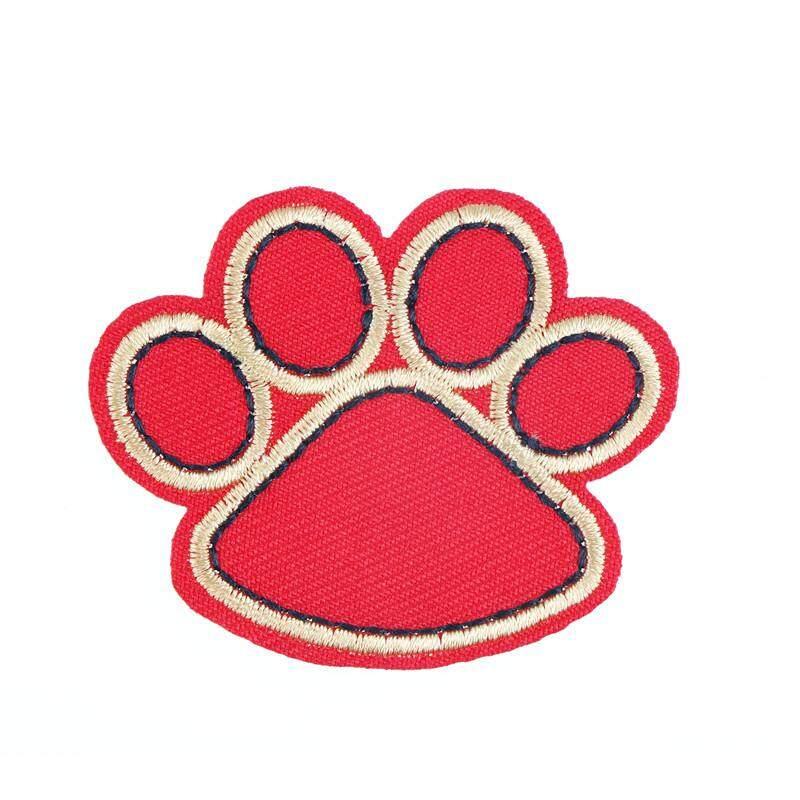 Chú Chó Paw Sắt Trên Miếng Dán Cường Lực Cho Vải Làm Tan Chảy Keo Táo Thêu Miếng Dán DIY Phụ Kiện Đen