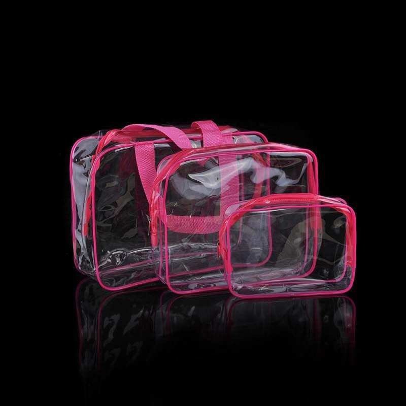 86d7ba423d44 3Pcs Crystal Clear Cosmetic Bag Air Travel Toiletry Bag Set with Zipper  Vinyl PVC Make-up Pouch Handle Straps for Women Men, Waterproof Packing ...